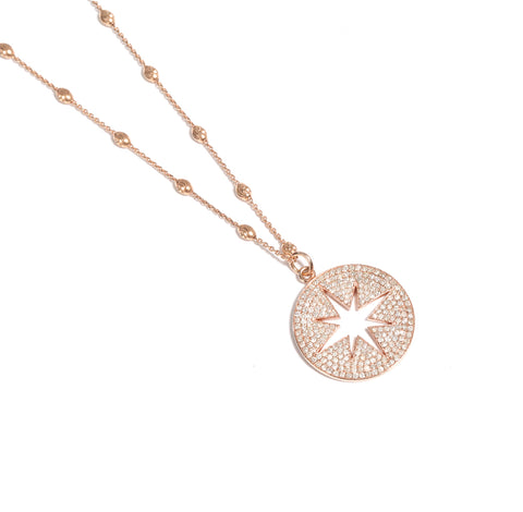 14k Rose Gold Diamond Pavé Compass on Lunar Chain