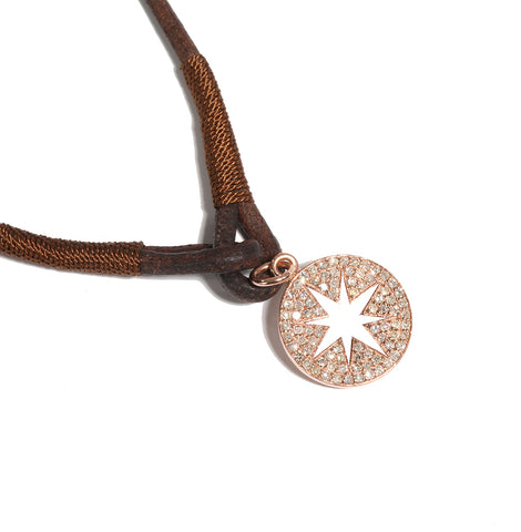 14k Diamond Pavé Compass on Leather