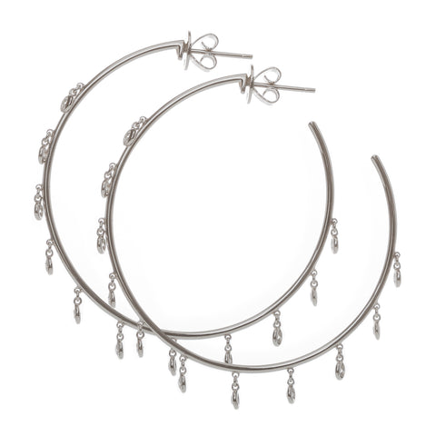 18k Large White Gold Diamond Gypsy Hoops