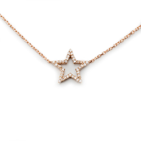 14k Diamond Star Pendant Choker