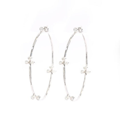 Fluerette Hoops in White Gold