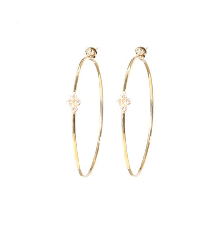 Floating Fleurette Hoops in Yellow Gold
