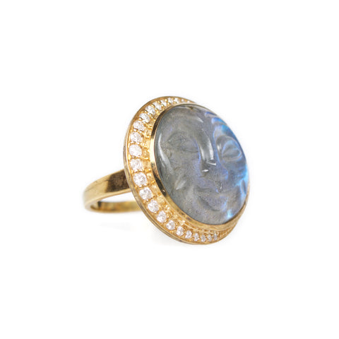 Labradorite Man in the Moon Ring