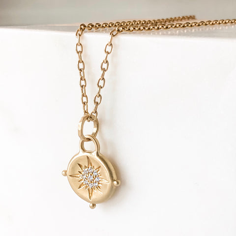 18K Diamond Compass Amulet Necklace