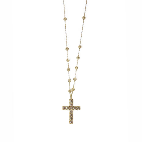 Carved Diamond Cross on Beaded Chain