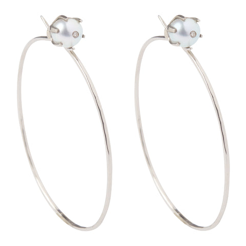 18k White Gold Pearl Stud Hoops