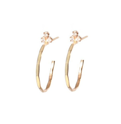 Mini Fluerette Hoops in Yellow Gold