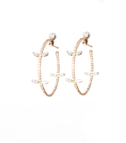 Pavé Petal Hoops in Rose Gold