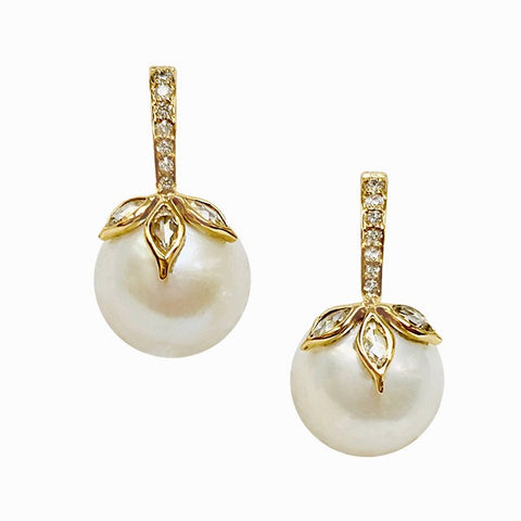 18k YG Soleil Pearl Earrings