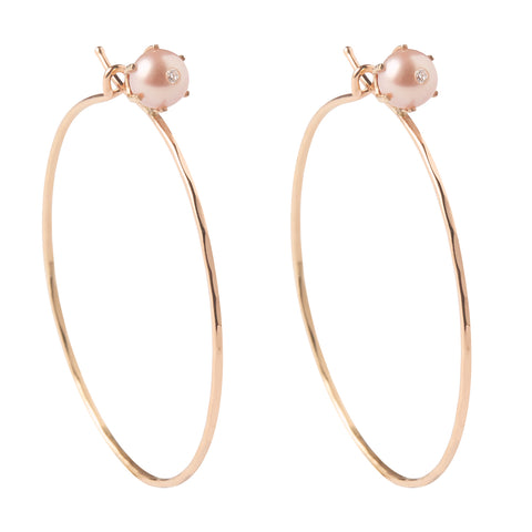 18k Rose Gold Pearl Stud Hoops