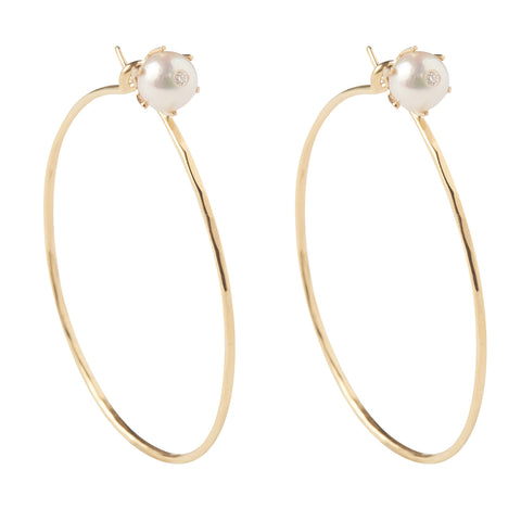 18k Yellow Gold Pearl Stud Hoops