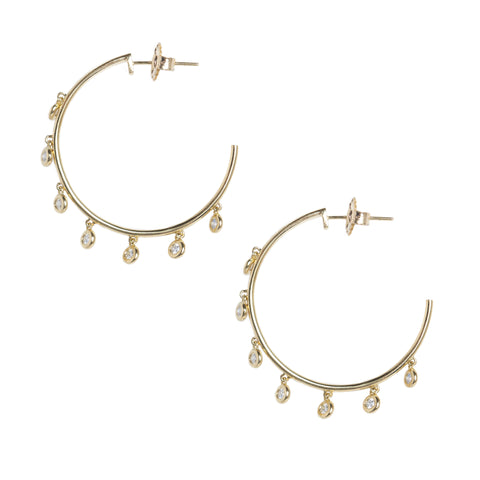 Diamond Mini Gypsy Hoops in Yellow Gold