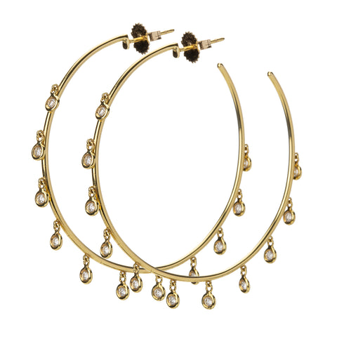18k Large Yellow Gold Diamond Gypsy Hoops