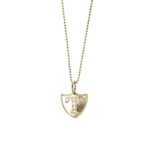 Diamond Initial Crest Necklace