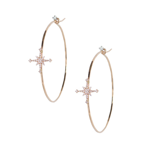 Diamond Stella Star Hoops in 18k Rose Gold