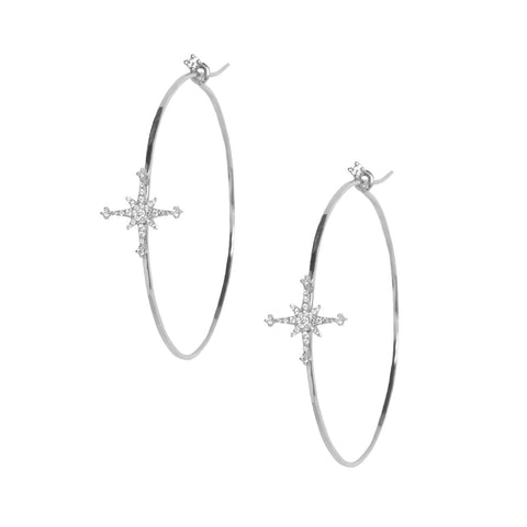 Diamond Stella Star Hoops in 18k White Gold