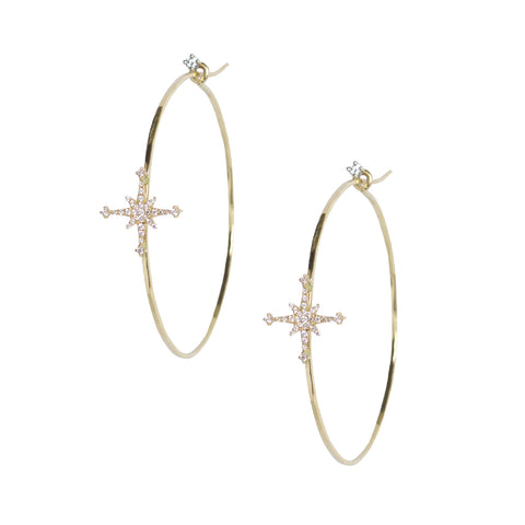 Diamond Stella Star Hoops in 18k Yellow Gold