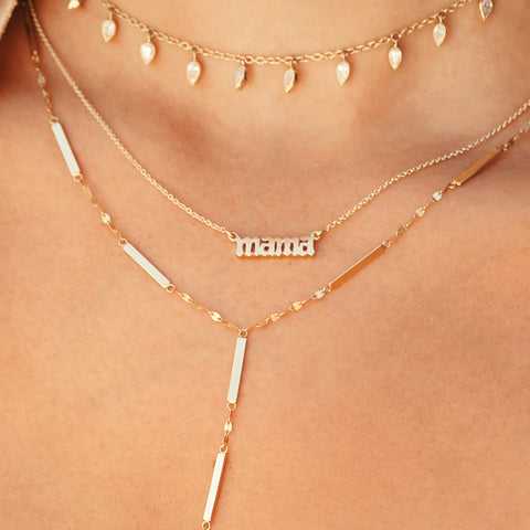 18k Gold Mama in Gothic Letters Necklace