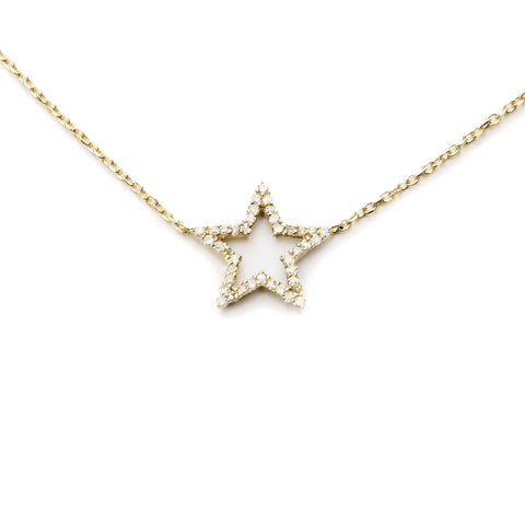Gold Vermeil Diamond Star Pendant Choker