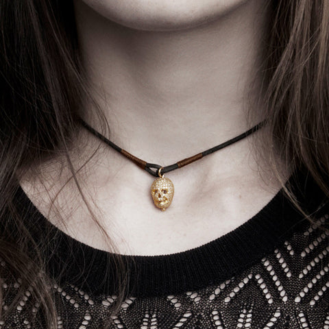 Happy Skull Leather Choker
