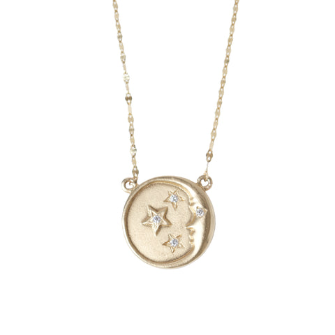 Man in the Moon and Stars Pendant Necklace in Yellow Gold