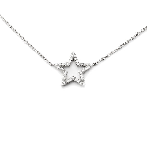 Sterling Silver Diamond Star Pendant Choker