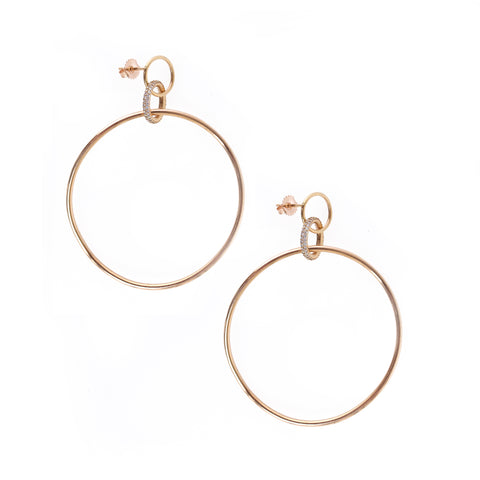 Twisted Trinity Hoops in 18k Rose Gold