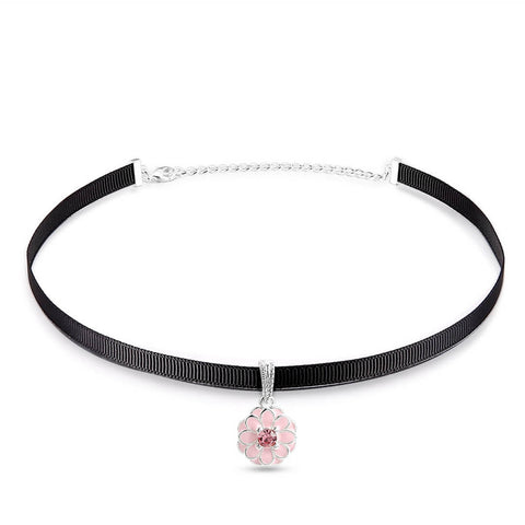 Pink Flower Choker Necklace -Soulforher