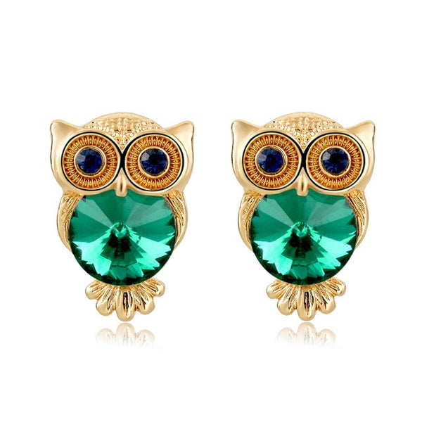 Crystal Owl Earrings Green - SoulForHer