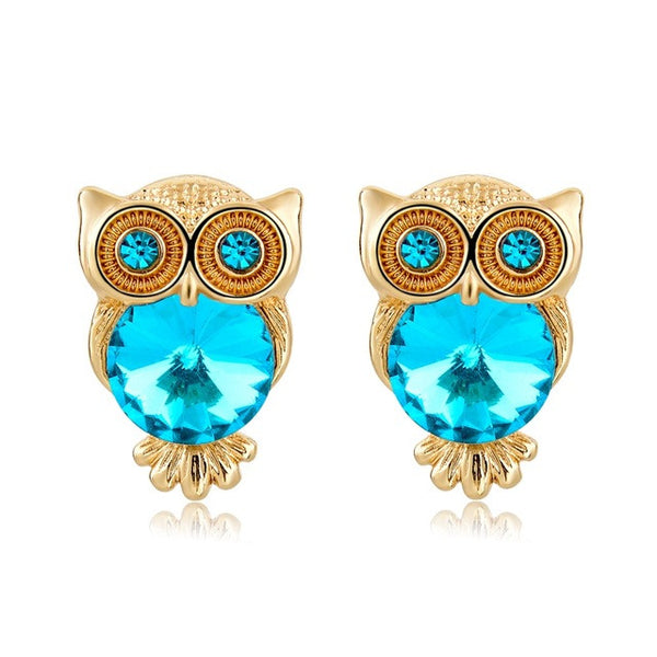 Crystal Owl Earrings Turquoise - SoulForHer
