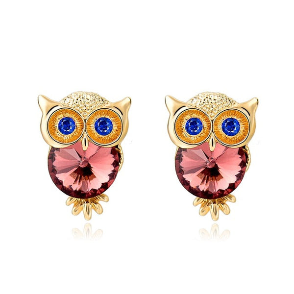Crystal Owl Earrings Pink - SoulForHer