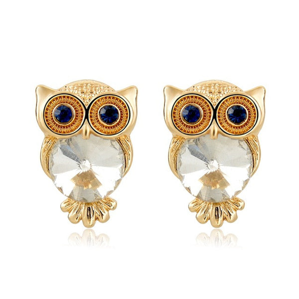Crystal Owl Earrings White - SoulForHer