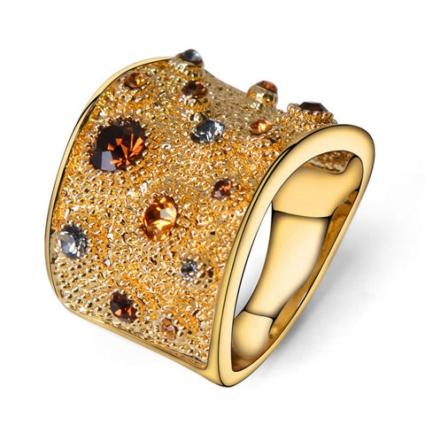 Fashion Women Geometric Gold Crystal Ring