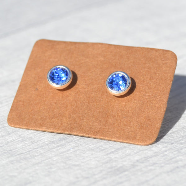 September - Sapphire Birthstone Stud Earrings