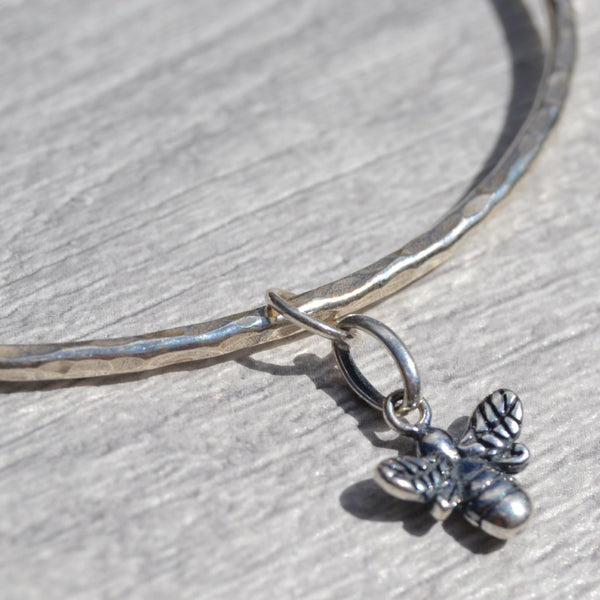 Silver Bangle with Bumble Bee Charm