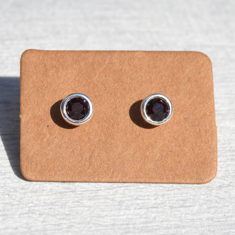January - Garnet Birthstone Stud Earrings