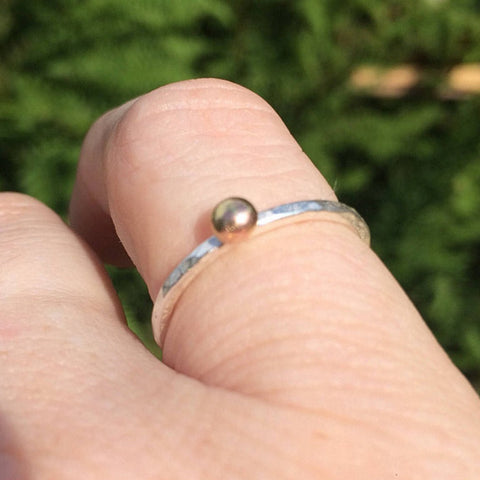Silver Ring with Gold Granulation Ball