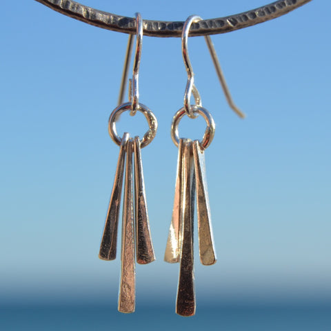 Silver Forged Waterfall Earrings