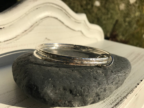 Silver Triple Bangle (Hammered Finish)