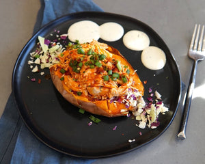 Buffalo Chicken Loaded Sweet Potato
