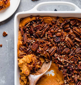 Sweet Potato Casserole with Candied Pecan (serves 4)
