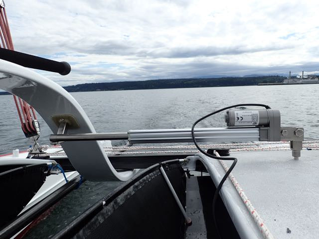 Russell of PT Watercraft is preparing for the Race to Alaska aboard his Gougeon 32  catamaran. Pelagic AP is assisting with the autopilot.