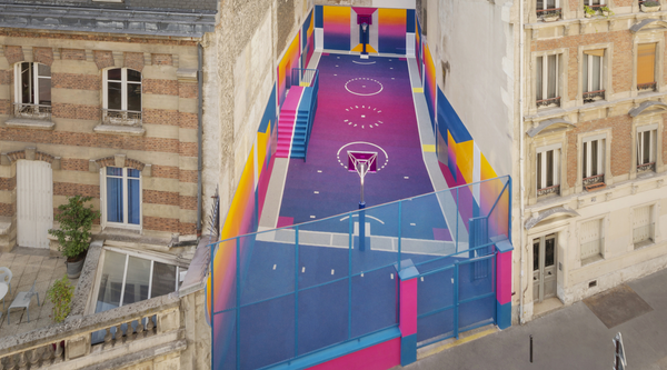 the Pigalle Duperré basketball courtyard designed by ILL-STUDIO for Nike x Pigalle in Paris  (image by Alex Penfornis and Sébastien Michelini)