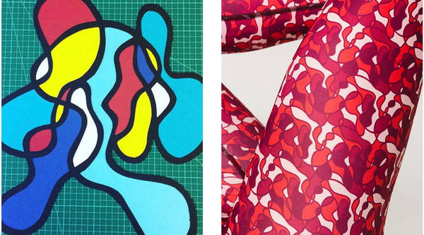 pure by luce Naomi Cape Town printed leggings inspired by Jody Paulsen's collage art