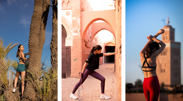 pure by luce Moroccan-inspired activewear: Shourouk Akchour printed shorts, Alou Marrakech printed leggings and Yatou Black T-shirt and Noor Ruby unicolour leggings
