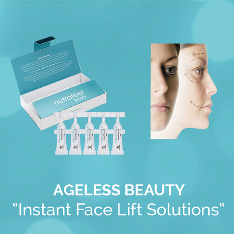 woman's face and package with ageless beauty instant face lift printed