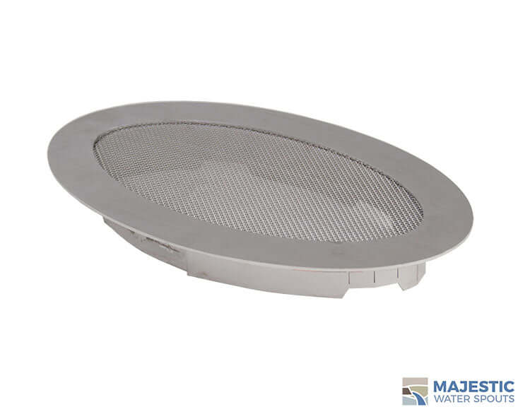 "10"" x 6"" Oval Fountain Splash Guard - Stainless Steel"