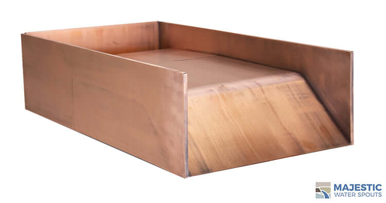 Copper 12 inch Block open top spillway for water feature in pool or spa