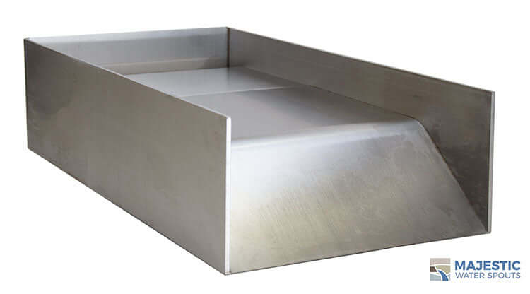 Stainless Steel Block Open Top Spillway for Pool and spa water feature by Majestic Water Spouts