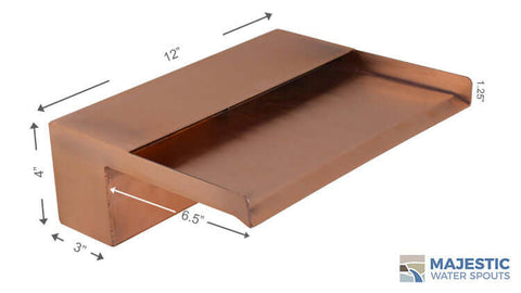 "Zanardi <br> 12"" Open Top Waterfall Spillway - Copper"